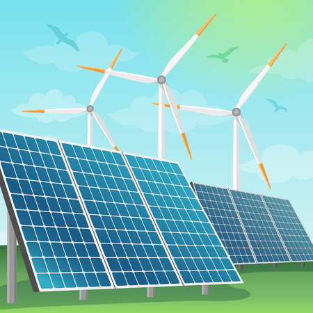 Solar batteries and windmills vector illustration. Production of eco renewable energy in nature, alternative sources of energy.