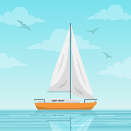 Sailboat vector illustration. Small boat with a sail, sailing ship on the sea. Flat style image Illustration