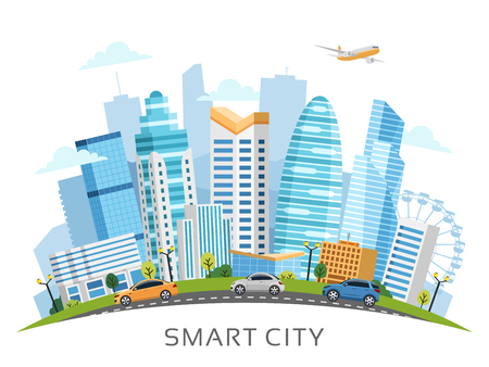 Urban smart city landscape arranged in arch with buildings, skyscrapers and transport traffic. Vector illustration