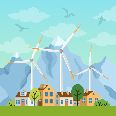 Landscape with private houses and windmills on a background of mountains and hills. Wind generator turbines produce eco renewable energy in nature. Alternative sources of energy.