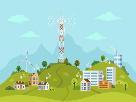 Übertragungszellturm auf Landschaft. Drahtlose Funksignalverbindung mit Häusern und Gebäuden durch Hindernisse. Mobilfunkmast mit Satellitenkommunikationsantennen.