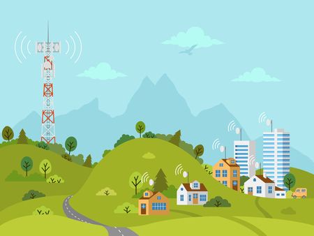 Transmission cellular tower on landscape. Wireless radio signal connection with houses and buildings through obstacles. Mobile communications tower with satellite communication antennas. Vektorgrafik