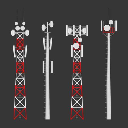 Conjunto de vectores de torres de transmisión celular. Torre de comunicaciones móviles con antenas de comunicación por satélite. Torre de radio para conexiones inalámbricas.