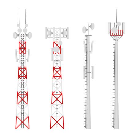 Zestaw wektorów wież komórkowych transmisji. Wieża łączności ruchomej z antenami łączności satelitarnej. Wieża radiowa do połączeń bezprzewodowych.