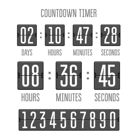 Flip countdown clock counter timer on white. Vector time remaining count down flip board with scoreboard of day, hour, minutes and seconds. Can be used for web page upcoming event template design.