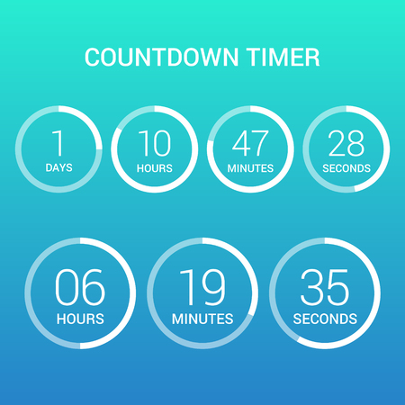 Circle countdown clock counter timer on gradient. Vector time remaining count down round indicator scoreboard of day, hour, minutes and seconds. Can be used for web page upcoming event template design 写真素材 - 108574144