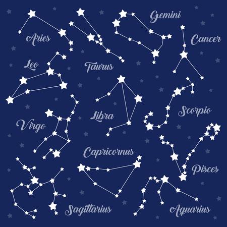 12 zodiac signs constellations vector set on dark. Aries Taurus Gemini Cancer Leo Virgo Libra Scorpio Sagittarius Aquarius Capricorn Pisces