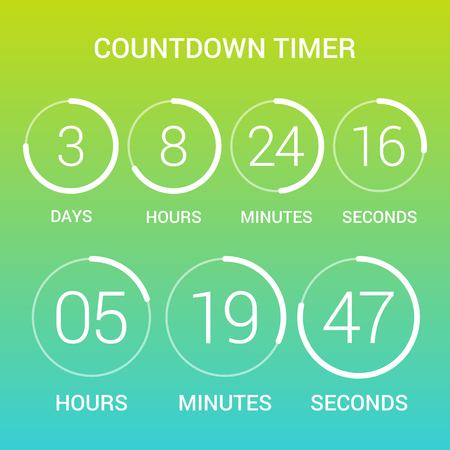 Circle countdown clock counter timer on gradient. Vector time remaining count down round indicator scoreboard of day, hour, minutes and seconds. Can be used for web page upcoming event template design Ilustrace
