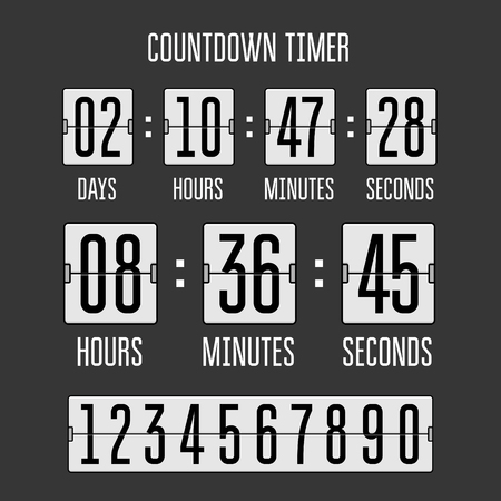 Flip countdown clock counter timer on black. Vector time remaining count down flip board with scoreboard of day, hour, minutes and seconds. Can be used for web page upcoming event template design.