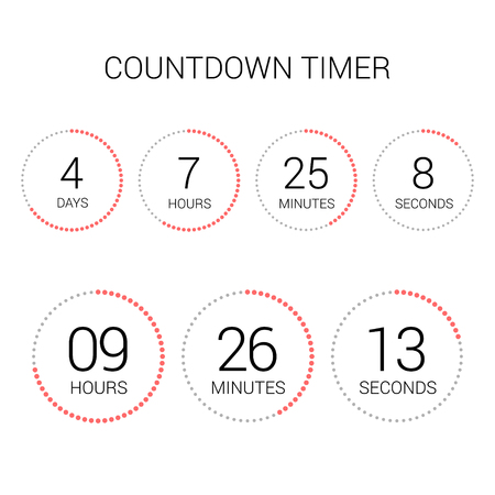Circle countdown clock counter timer on white. Vector time remaining count down round indicator scoreboard of day, hour, minutes and seconds. Can be used for web page upcoming event template design.