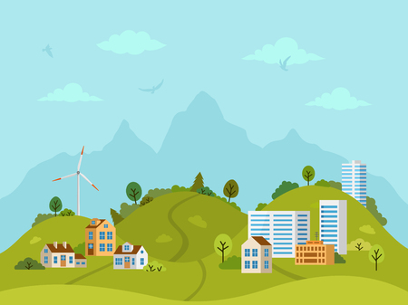 Paisaje rural montañoso con casas, edificios, colinas verdes, árboles y molino de viento. Diseño plano, ilustración vectorial.