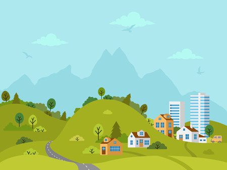 Rural hilly landscape with houses, buildings, green hills, trees and road. Flat design, vector illustration.