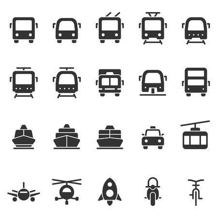 Public transport vector shape style icon set. Front view land, water, air transport symbols. Marking of transport stops.