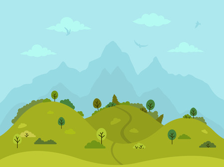 Rural hilly landscape with green hills, trees and mountains. Flat design, vector illustration. Ilustração