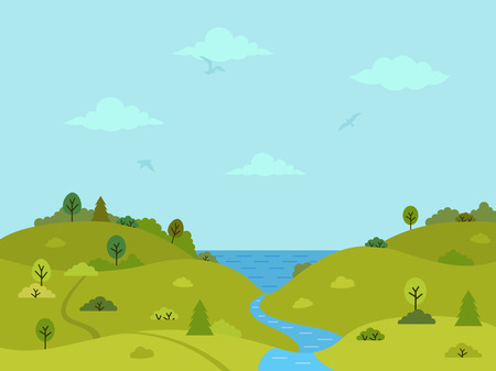Rural hilly landscape with green hills, trees and river. Flat design, vector illustration.