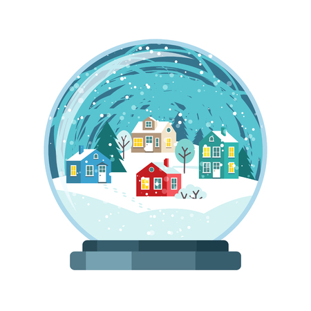 Christmas snow globe with small houses. Isolated vector illusrtation Vetores