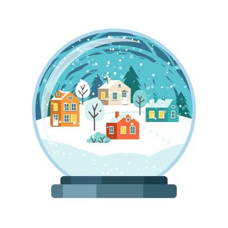 Christmas snow globe with small houses. Isolated vector illusrtation