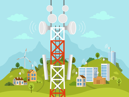 Cellular transmission tower in front of landscape. Wireless radio signal connection with houses and buildings through obstacles. Mobile communications tower with satellite communication antennas.