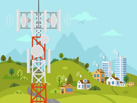 Mobilfunk-Sendemast vor der Landschaft. Drahtlose Funksignalverbindung mit Häusern und Gebäuden durch Hindernisse. Mobilfunkmast mit Satellitenkommunikationsantennen. Vektorgrafik