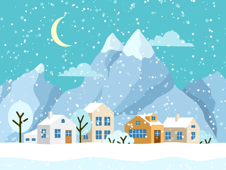 Christmas winter landscape with small houses. Snowy evening village with mountains. Vector illustration 矢量图像