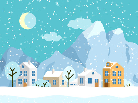 Christmas winter landscape with small houses. Snowy evening village with mountains. Vector illustration Vettoriali