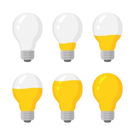 Insieme di vettore dell'indicatore delle lampadine di potere della luce. Livello di carica energetica, pieno e basso. Illustrazione isolata incandescente gialla su sfondo bianco Vettoriali