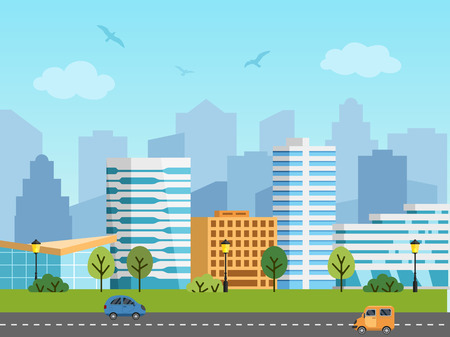 City urban vector landscape. Panorama of buildings in front of skyscrapers. Birds in the sky, cars on the road.