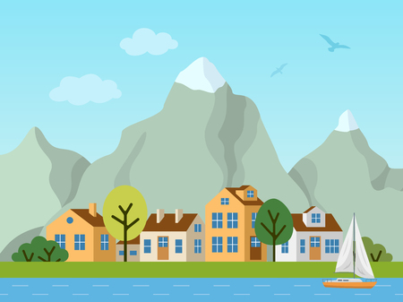 City urban vector landscape. Panorama of cottages in front of mountains. Birds in the sky, boat on the river. 向量圖像