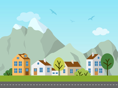 City urban vector landscape. Panorama of cottages in front of mountains. Birds in the sky, empty road.
