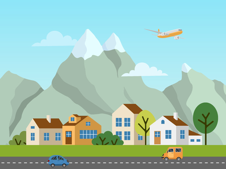 City urban vector landscape. Panorama of cottages in front of mountains. Plane in the sky, cars on the road. Иллюстрация