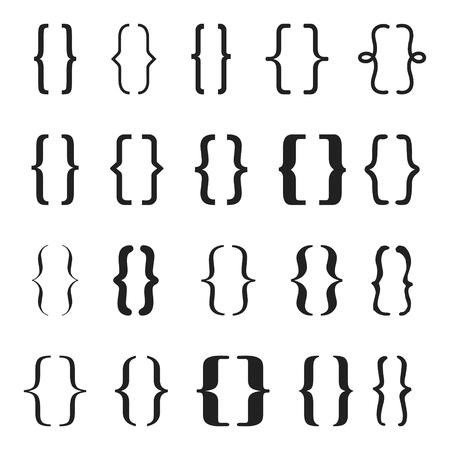 Conjunto de icono de llaves o corchetes. Ilustrador vectorial