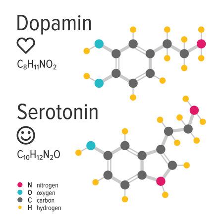 Dopamin and serotonin hormones vector chemical formulas. Love and happiness emotions. Chemical molecular model. Standard-Bild - 121653869