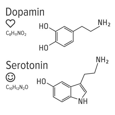 Dopamin and serotonin hormones vector chemical formulas. Love and happiness emotions. Chemical molecular formula. Standard-Bild - 121653871