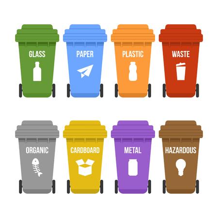 Mehrfarbige Recycling-Mülleimer auf Rädern für die getrennte Müllsammlung. Farbige Müllcontainer für Abfallarten - Kunststoff, Pappe, Bio, Papier, Glas, Metall. Flache Vektorillustration