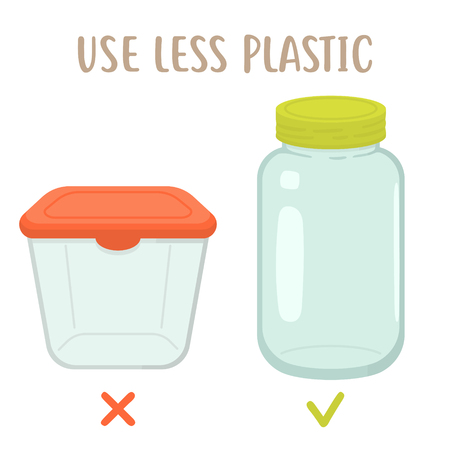 Use less plactic - plastic box vs glass jar. Eco friendly vector flat illustration Illustration