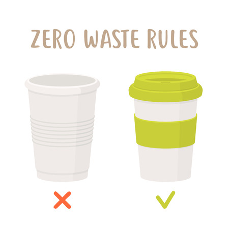 Zero waste rules - disposable cup vs reusable cup. Less plastic vector flat illustration