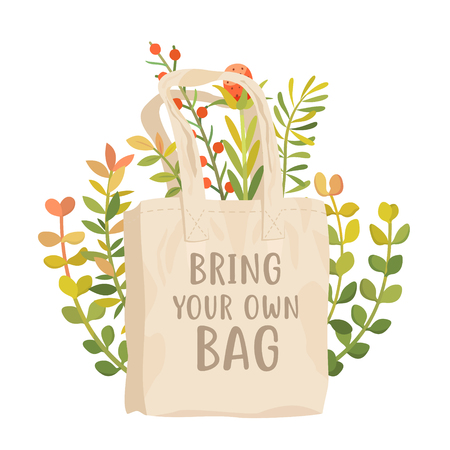 Bring your own bag vector poster. Use reusable cotton bag. Less plastic concept