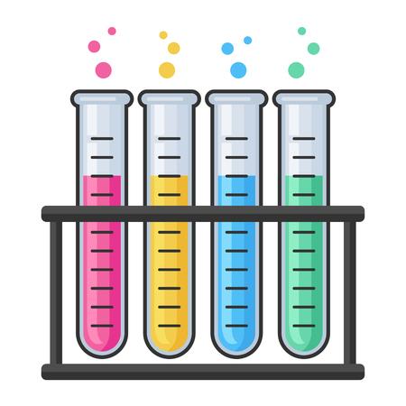 Chemieforschungslabor Reagenzglas Vektor-Set. Ausrüstung für Pharmazie und Chemie, Bildung und Wissenschaft Vektorgrafik