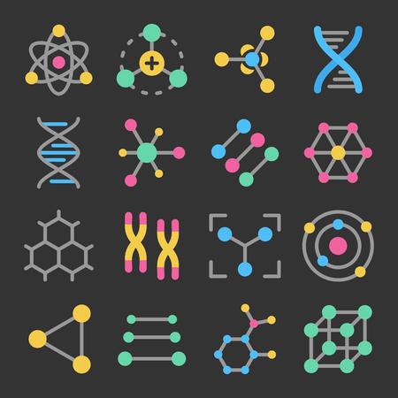Atome, Moleküle, DNA, Chromosomen buntes Vektorsymbol auf dunklem Hintergrund. Pharmazie und Chemie, Bildung und Wissenschaft Elemente und Ausrüstung