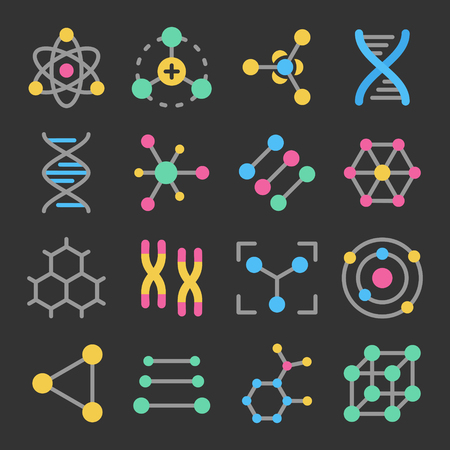 Atoms, molecules, dna, chromosomes colorful vector icon set on dark background. Pharmacy and chemistry, education and science elements and equipment
