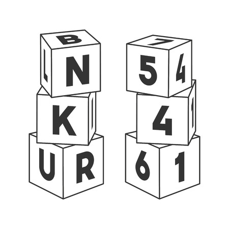 Outline block building towers with letters and numbers for coloring book. Bricks vector illustration on white background.