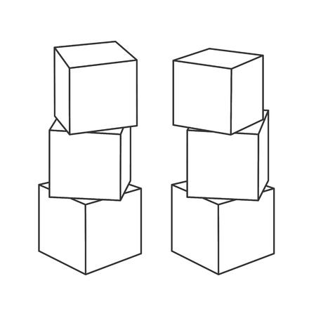 Décrire les tours de construction de blocs pour le livre de coloriage. Briques vierges pour votre propre conception, illustration vectorielle sur fond blanc.