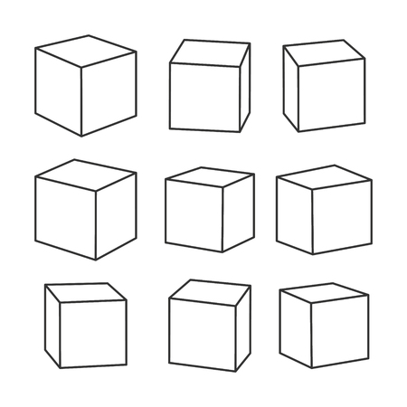Set of blank outline toy bricks, vector illustration for coloring book. Single vector cubes isolated on white background.