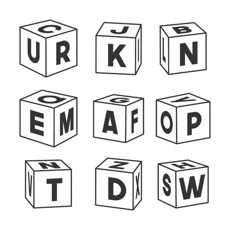 Conjunto de ladrillos de juguete de contorno con letras, ilustración vectorial para colorear libro. Cubos de un solo vector aislados sobre fondo blanco.
