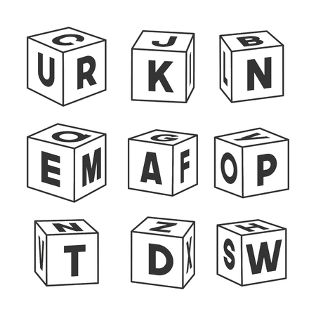 Set of outline toy bricks with letters, vector illustration for coloring book. Single vector cubes isolated on white background.