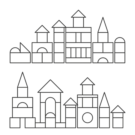 Simple line style blocks toy towers for coloring book. Bricks childrens building construction, castle, house. Vector volume style illustration isolated on white background Vettoriali