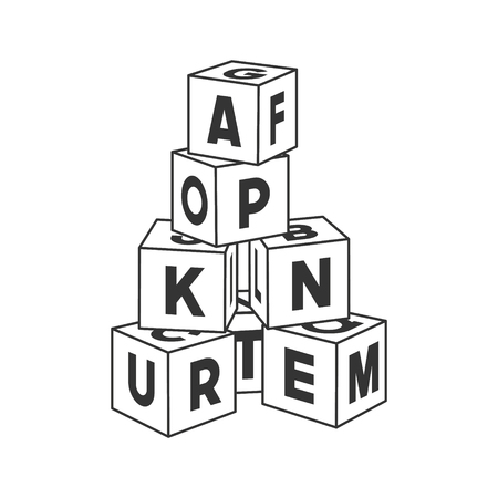 Outline block building tower with letters for coloring book. Alphabet bricks vector illustration on white background.