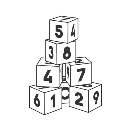 Outline block building tower with numbers for coloring book. Numeral bricks vector illustration on white background.