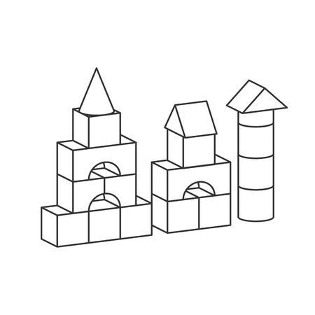 Torre de juguete de bloques de estilo de línea para colorear libro. Construcción de edificios para niños de ladrillos, castillo, casa. Ilustración de estilo de volumen de vector aislado sobre fondo blanco Ilustración de vector