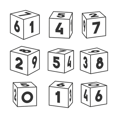 Set of outline toy bricks with numbers, vector illustration for coloring book. Single vector cubes isolated on white background. Ilustracja